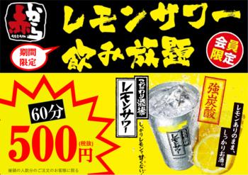 《500円》レモンサワー飲み放題実施中!