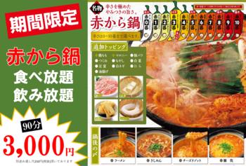《期間限定》3,000円食べ飲み放題